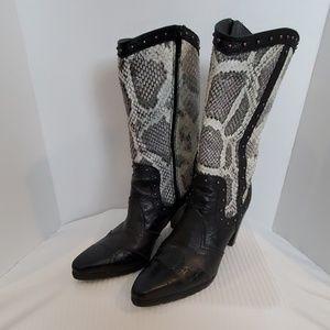 Stuart Weitzman Black Leather Reptile Cowboy Boots